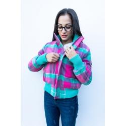 Pink check jckt - size S